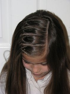 Row of inside out ponies - 15 Hairstyles for Toddler Girls.