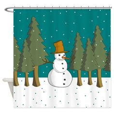 A snowman alone with pine trees on a snowy day - holiday shower curtain Holiday Shower Curtains, Snowy Day, Pine Tree, Special Day, Snowman, Trees, Home, Design, Pine