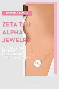 Sorority circle necklaces are the easiest gift for any celebration: Recruitment, Bid Day, Back to School & Big/Little. Spoil your new sorority girl with our simple and dainty Greek letter circle necklace! Zeta Tau Alpha Gifts   Zeta Tau Alpha Bid Day   ZTA Necklace   Zeta Tau Alpha Jewelry   Sorority Bid Day   Sorority Recruitment   Sorority Jewelry Gifts   Sorority College Gift   Sorority New Member Gift Ideas   Dainty Jewelry   Simple Gold Necklace #SororityGifts #SororityJewelry