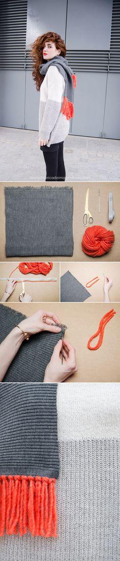 DIY Scarf · DIY Bufanda de flecos · Fábrica de Imaginación  No sew or knit project