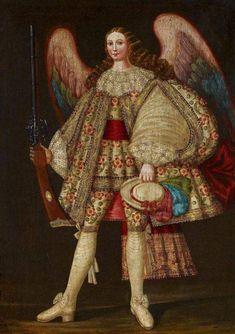 Cuzco School Archangel with Rifle Colonial Art, Angel Warrior, Christian Images, Biblical Art, European Paintings, Historical Art, Greek Art, Angels And Demons, Naive Art