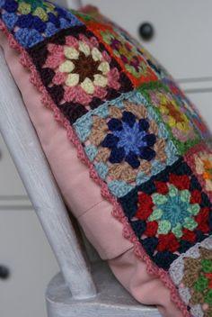 crochet 'granny square' cushion cover
