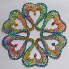Web Pics and Patterns - Blanca Torres - Picasa Web Albums String Art Tutorials, String Art Patterns, Paper Embroidery, Embroidery Designs, Web Pics, Bobbin Lace Patterns, Lacemaking, Lace Heart, Point Lace