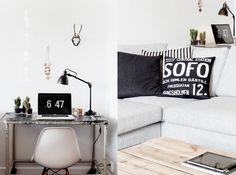 Scandinavian style and design minimalist pure simple Interior Exterior, Interior Architecture, Interior Design, Workspace Design, Office Workspace, Office Decor, Cool Office, Small Office, White Office