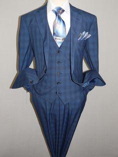 Mens RENOIR 3 Piece Vested Suit Glenn Plaid Notch Lapel Business 278-2 Navy Blue | eBay