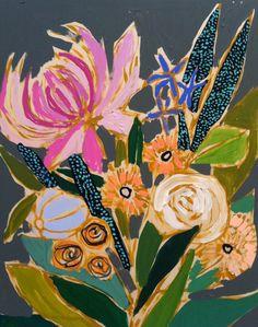 cute art from Lulie wallace in charleston Flower Collage, Flower Art, Art Flowers, Bohemian Flowers, Flower Landscape, Diy Canvas Art, Canvas Ideas, Flower Images, Painting Inspiration