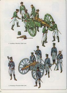 Caricamento di un cannone russo da 12 libbre (sopra) e puntamento di un cannone prussiano da 6 libbre (sotto)