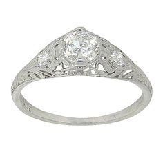 Beautiful Art Deco Platinum .83 Carat by Antiquejewelryshoppe