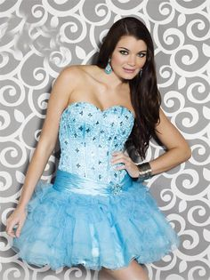 Sweetheart Mini Blue Tulle A Line Homecoming/Cocktail Dress