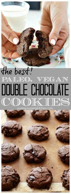 The best double chocolate chip cookies made with healthier ingredients like almond and coconut flours and almond butter. These delicious fudgy dark chocolate cookies are gluten-free, paleo, and vegan!