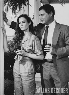 "Kristin and J.R. (Mary Crosby, Larry Hagman) flirt with each other in this 1979 publicity shot from ""The Kristin Affair,"" a third-season ""Dallas"" episode. Relive more memories at DallasDecoder.com."