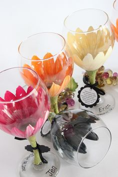 https://flic.kr/p/9BCEHB | Custom bridal party wine glasses | Hand painted wine glasses, martini, kitchen and more.  Top rack dishwasher safe and comes with a care tag so people know this.  Personalization is FREE of charge.  Wholesale pricing for private orders available.