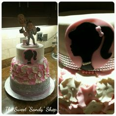 It's a barbie themed wedding cake with a topper that represents the blissful couple