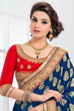 Denim #Blue and #Cream #Yellow Crepe and Jacquard Party #Embroidered Saree Sku Code: 129-5646SA792407 US $ 75.00  http://www.sareez.com/sarees/denim-blue-and-cream-yellow-crepe-and-jacquard-party-embroidered-saree.html#