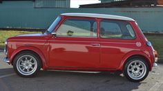Red Classic Mini Cooper.