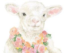 Lamb Floral Watercolor Painting Giclee Print 8 x 10 (8.5 x 11) Fine Art Nursery Print Girls Room