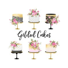 Valentine Cake Clipart, Gold Foil Cake Clipart, Shabby Chic Clipart - wedding clipart, birthday cake clipart, gold foil, wedding invitations