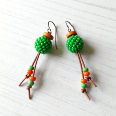 Spring Green and Orange Drop Earrings - The British Craft House