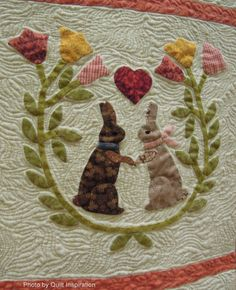 close up, Baltimore Bunnies by Fleda Gorbea, quilted by Ann Skitt.  2014 AZQG, photo by Quilt Inspiration quilt inspir, easter quilt