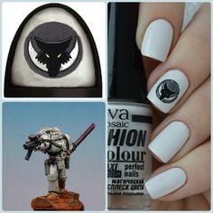 Luna Wolves warhammer manicure collage