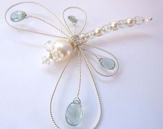 Moss Aquamarine large ornate Sterling Dragonfly Hair Pin, Clip, Brooch or Bouquet Decoration - Tagt. $45.00, via Etsy. #wirejewelry #jewelrymaking #jewelrygram #jewelryinspo #cbloggers #beading #wirework