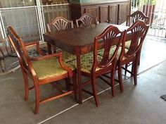 Antique Dining Room Table W 6 Shield Back Chairs 1920u0027 1930u0027 | EBay