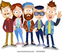 Vector cartoon illustration of group of young friends staying on the white background. Characters wearing sportswear, enjoying hipster lifestyle, having great hairstyles.