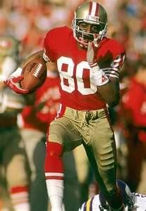 Jerry Rice, awfully close to the perfect NFL player. How do you choose a Pin to represent all that he was/is? Especially if you aren't a Niners fan? Just appreciate the gentleman and phenomenal athlete. Such fun to watch play and to hear interviewed. Nfl 49ers, Football Team, School Football, Football Cards, 49ers Players, Football Players, American Football, American Sports, American Athletes