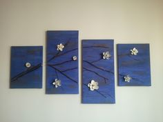 Wall art including paper flowers with music notes on them!