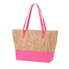 Personalized Cork Purse - Hot Pink Item can be monogrammed with custom embroidery with a name or monogram. L x W x H Cork & Vegan Leather Interior Lining Interior Zipper Pocket 2 Interior Open Pockets Zipper Closure Spring Bags, Summer Bags, Cork Purse, Monogrammed Purses, Cork Fabric, Unique Bags, Cute Purses, Beautiful Bags, Bag Making
