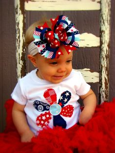 4th of July Frayed Edges Multi Fabric Flower- Applique Boutique Shirt or Onesie and Hair Bow Set for Girls. $30.00, via Etsy.