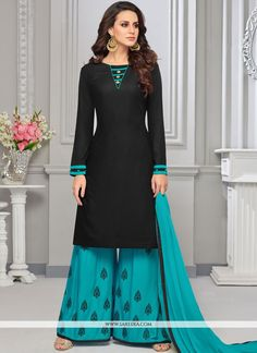 88835eec7e An remarkable black cotton and rayon designer palazzo salwar kameez will  make you look quite stylish