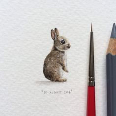 Day 237 : Imhoff Farm in Kommetjie has a petting zoo where little ones can pet goats, sheep, ducks, rabbits and ponies (to name a few!).  13 x 28 mm. #365postcardsforants #wdc624 #miniature #watercolour #rabbit #bunny #imhofffarm #kommetjie #capetown #art