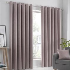 Ouida Eyelet Room Darkening Thermal Curtains Brambly Cottage Colour: Pink, Panel Size: Width 229 x Drop Ready Made Eyelet Curtains, Plain Curtains, Wide Curtains, Pleated Curtains, Grey Curtains, Room Darkening Curtains, Cottage Curtains, Modern Curtains, Pink