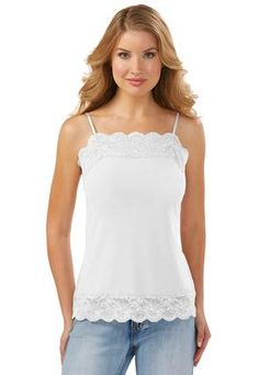 Cato Fashions Plus Size Angel Sleeve Lace Top Lace Hem Cami Plus Tops Cato