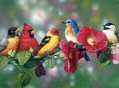 """A cardinal, bluebird, goldfinch and other colorful songbirds perched on a flowering hollyhock branch. Artist: Bill Vanderdasson: 550 piece jigsaw puzzle: Item 716: Finished size 18"""" X 24"""""""