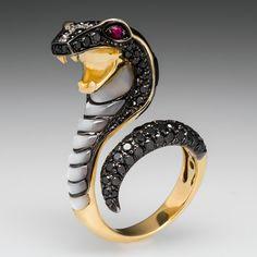 Neda Behnam Cobra Snake Cocktail Ring Black Diamonds 18K Gold