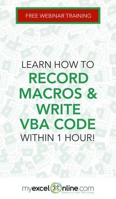 In this free Microsoft Excel webinar you will learn: How to record a Macro & create interactive buttons to run it! How to automate your repetitive Excel tasks using the VBA Editor! VBA code by way of simple explanations of the VBA coding language that even my 5 year old understands! Saving and sharing your Macros! + Receive a FREE BONUS Macros & VBA Cheat Sheet when you sign up from #MyExcelOnline blog. | Excel Tips + Tutorials for Beginners #MSExcel #ExcelFormulas #ExcelTips #MicrosoftExcel