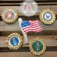 American flag, Marine, Army, Navy, Airforce, patriotic cookies