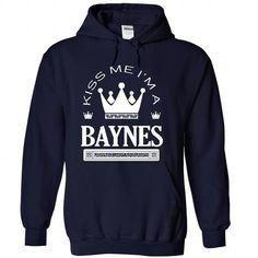 Kiss Me I Am BAYNES - #housewarming gift #fathers gift. SAVE => https://www.sunfrog.com/Names/Kiss-Me-I-Am-BAYNES-qpcgbeppiw-NavyBlue-41976573-Hoodie.html?68278