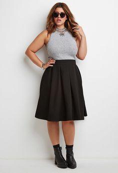 Plus Size Pleated Midi Skirt
