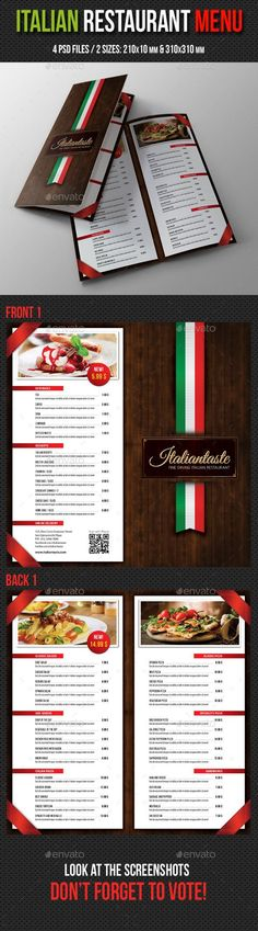 Italian Restaurant Menu Brochure Template