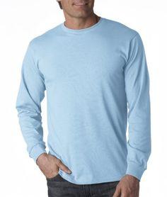 Adult Heavy Cotton HD Long-Sleeve T-Shirt (Light Blue)