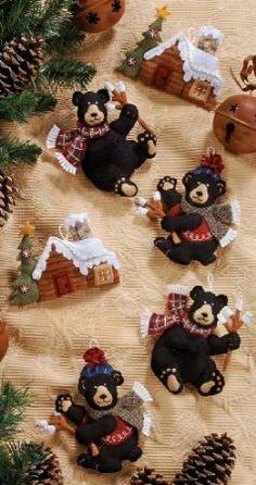 Amazon.com - Bucilla Black Bear Ornaments Felt Applique Kit - Needlepoint Kits