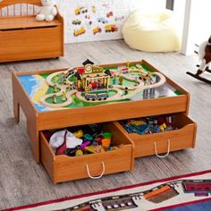 Great activity table! For trains/cars on one side and white on the other. Lots of storage too!