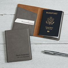 Create a professional executive gift with the Personalized Passport Holder - Signature Series - Grey.