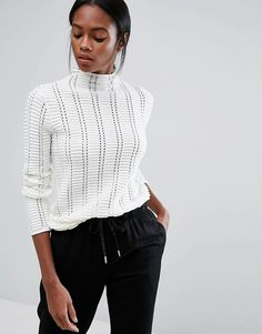 High neck ivory jumper