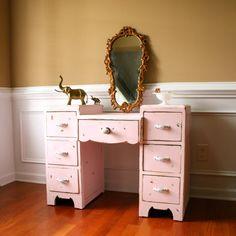 Pink Vintage Vanity Desk. Bohemian Chic. Boudoir. Shabby Chic. Boho. Girls Bedroom. Pastel Pink. Cottage. Little Girl Easter Birthday. via Etsy