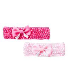Another great find on #zulily! Light & Dark Pink Bow Headband Set by Blossoms & Buds #zulilyfinds