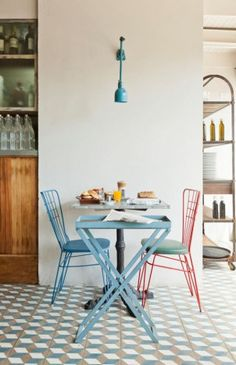 Painted Chairs for cafes as well as homes.  How cheerful! ~MWP - SHIFT CITY GUIDE | BUENOS AIRES | FORNERIA